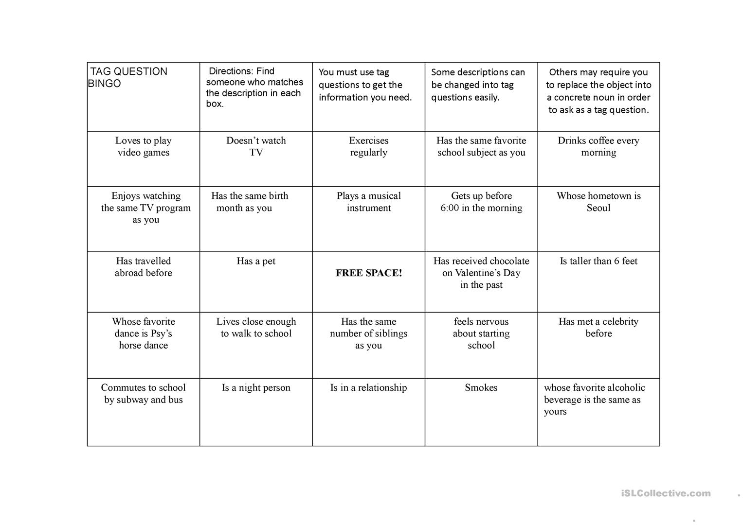 worksheet Bingo Worksheet 5 free esl people bingo worksheets using tag questions