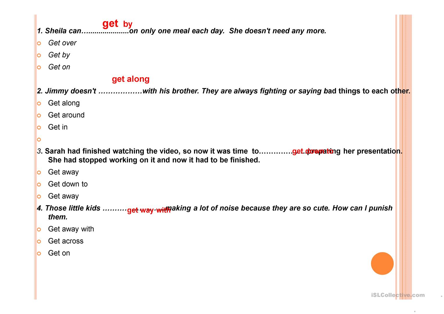 phrasal verbs with get - English ESL Powerpoints