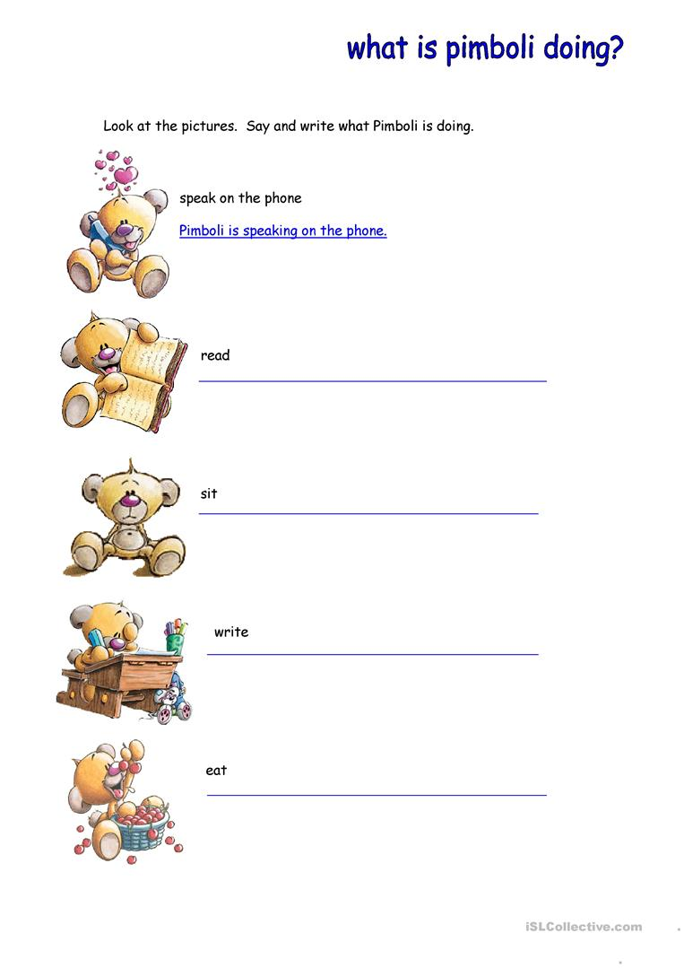 Present Continuous English Esl Worksheets