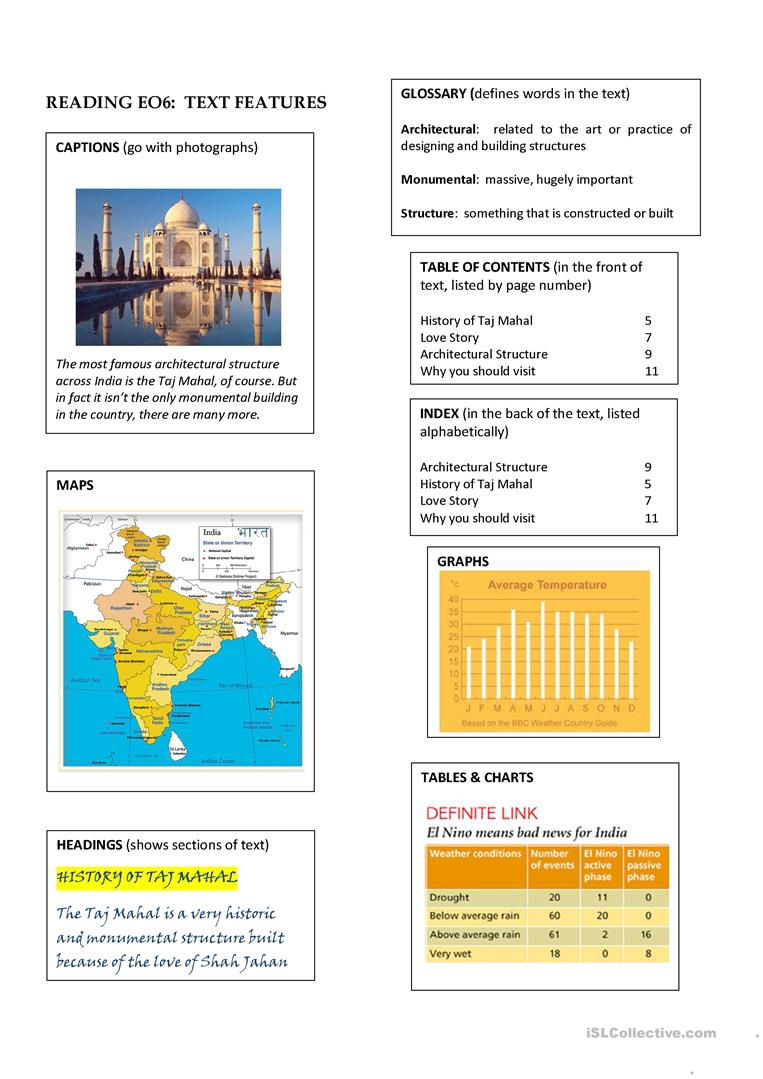 Worksheets Text Features Worksheets reading text features worksheet free esl printable worksheets full screen