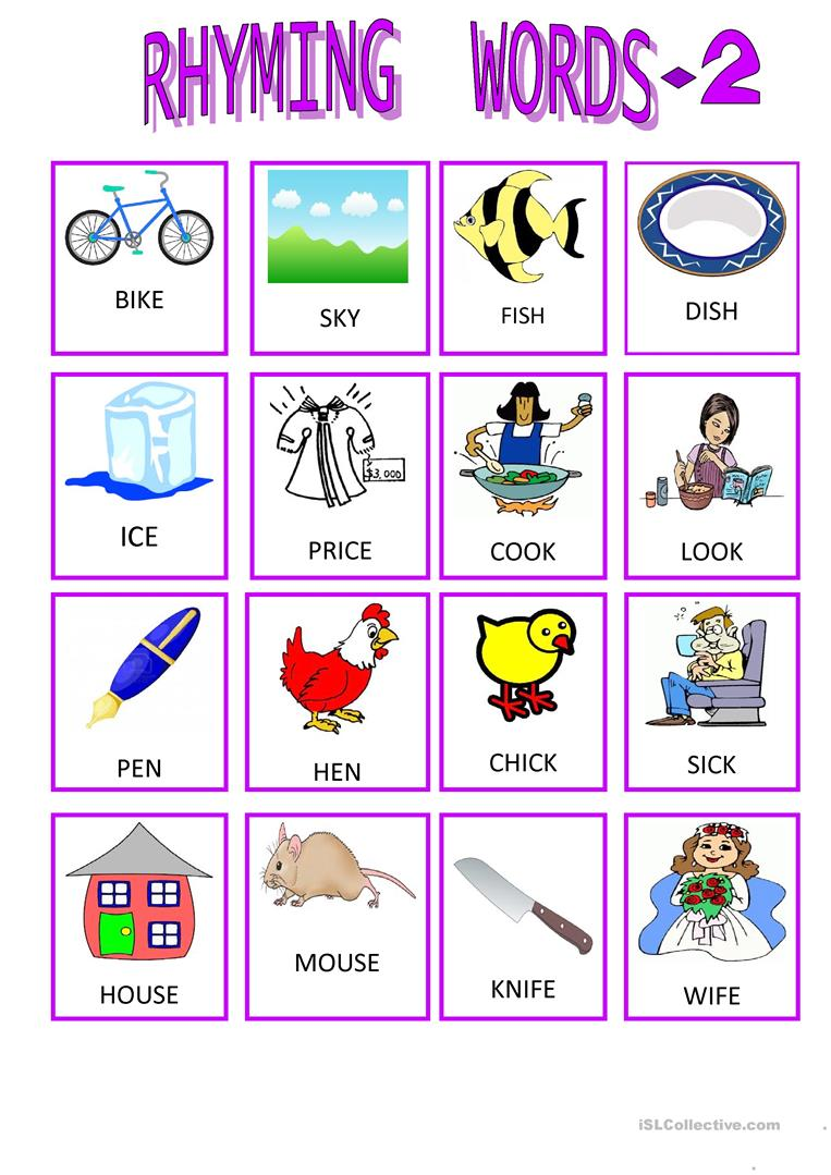 Worksheets Rhyming Words 18 free esl rhyming words worksheets 2