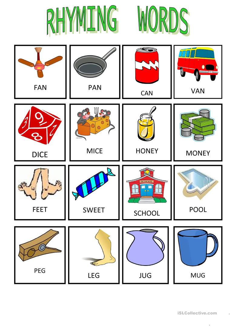 Worksheets Rhyming Words 18 free esl rhyming words worksheets 1