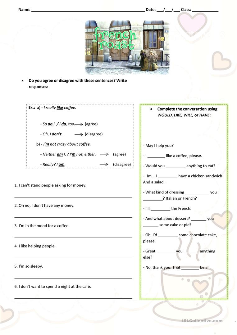 worksheet French Worksheets 73806 free esl efl worksheets made by teachers for short movie french roast