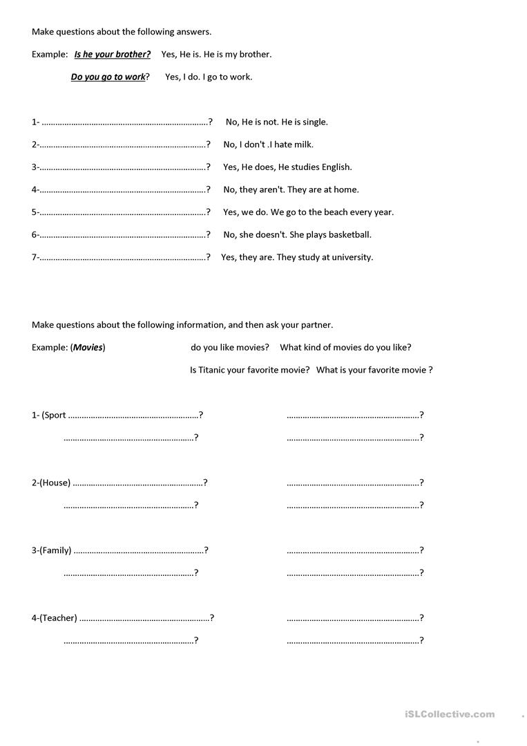 42 FREE ESL yes no questions worksheets