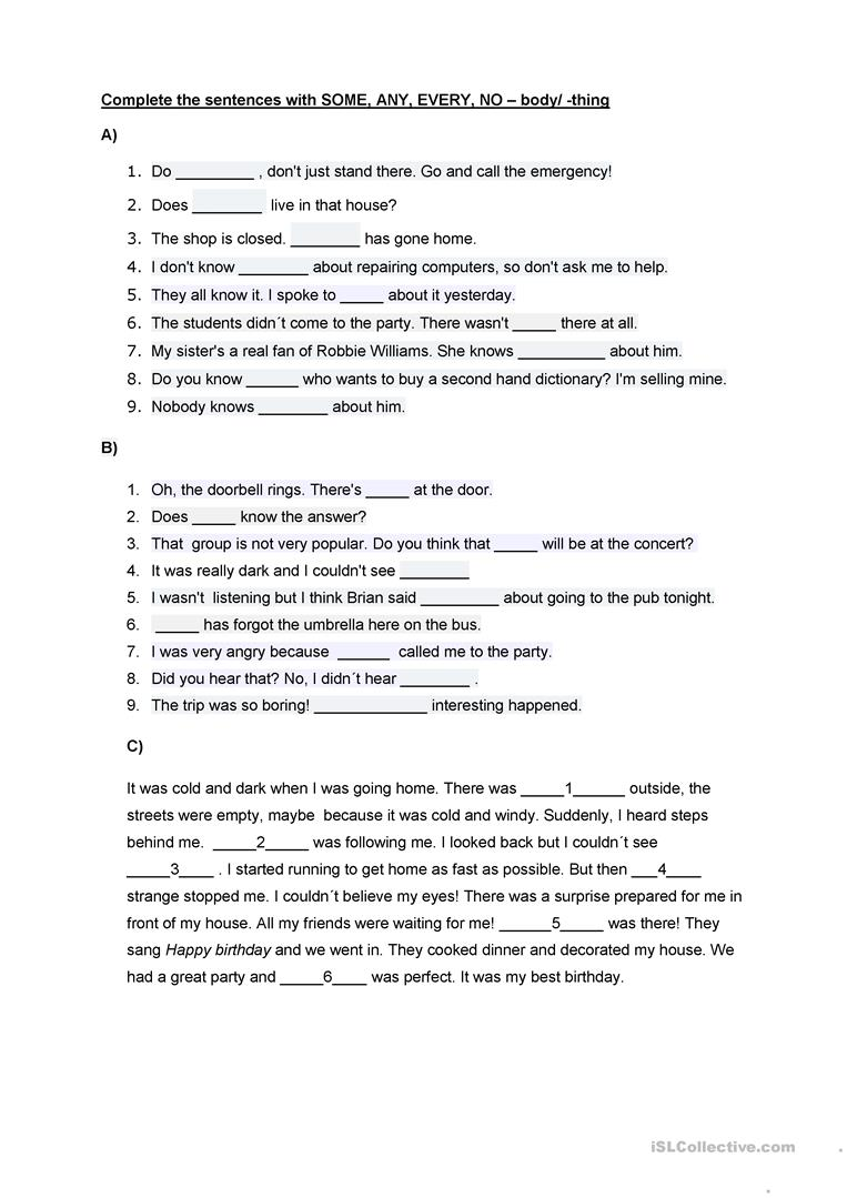 SOME, ANY, NO, EVERY + -body/ -thing worksheet - Free ESL ...