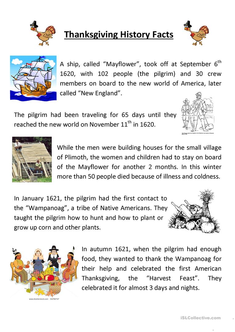 worksheet Thanksgiving Reading Comprehension Worksheets 10 free esl thanksgiving story worksheets teaching history