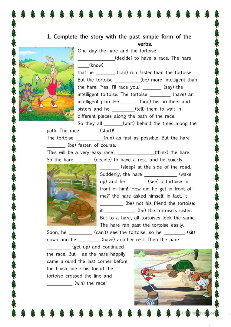 The Hare And The Tortoise 5 Exercises English Esl Worksheets