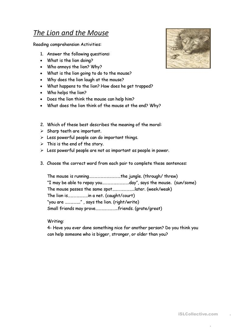 Worksheets  the lion and the mouse worksheet - Free ESL printable workshe