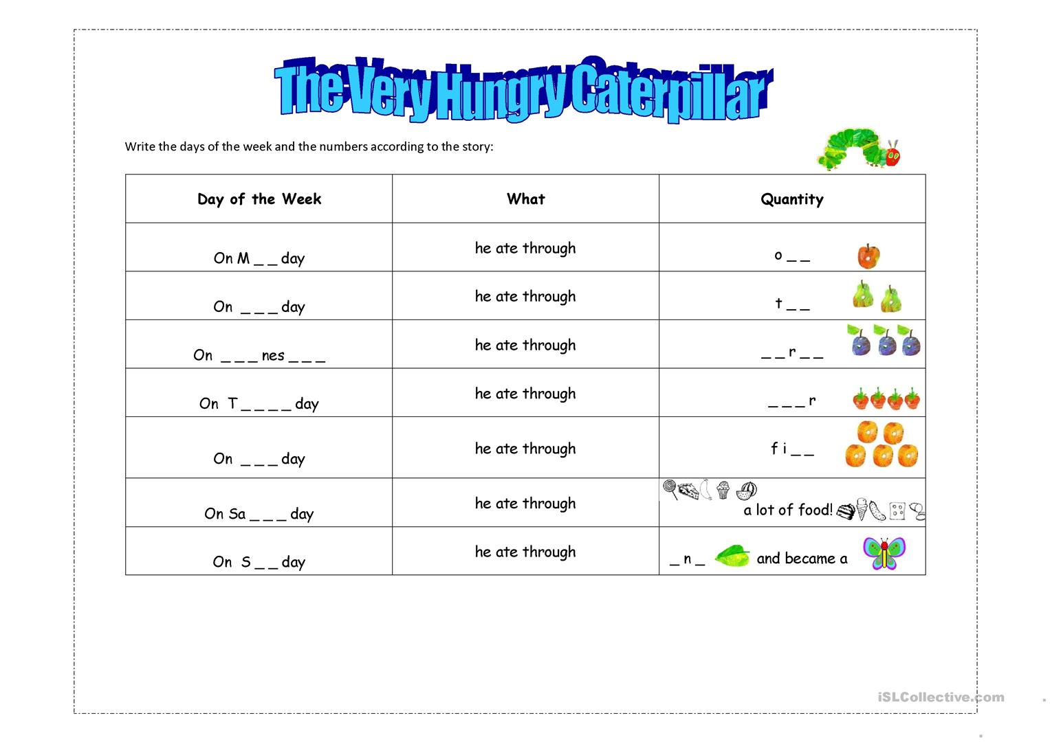 12 FREE ESL the very hungry caterpillar worksheets