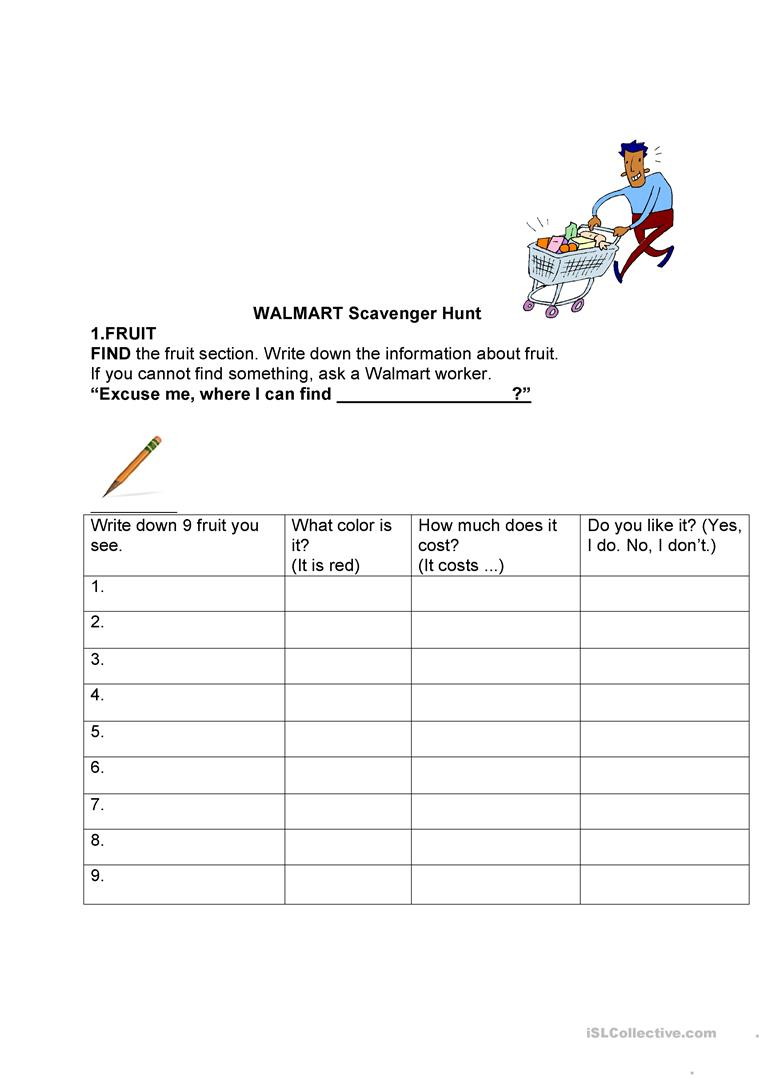 14 FREE ESL scavenger hunt worksheets – Scavenger Hunt Worksheets