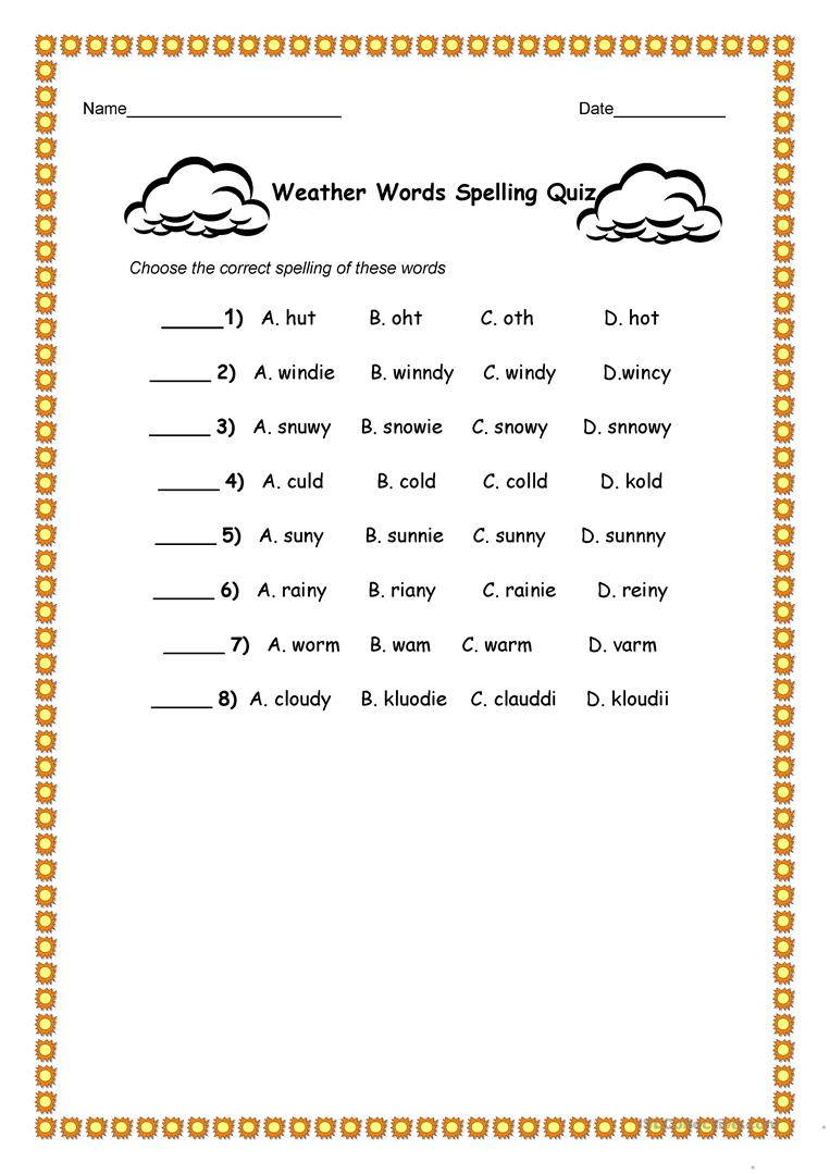 weather words spelling quiz worksheet free esl printable worksheets made by teachers. Black Bedroom Furniture Sets. Home Design Ideas