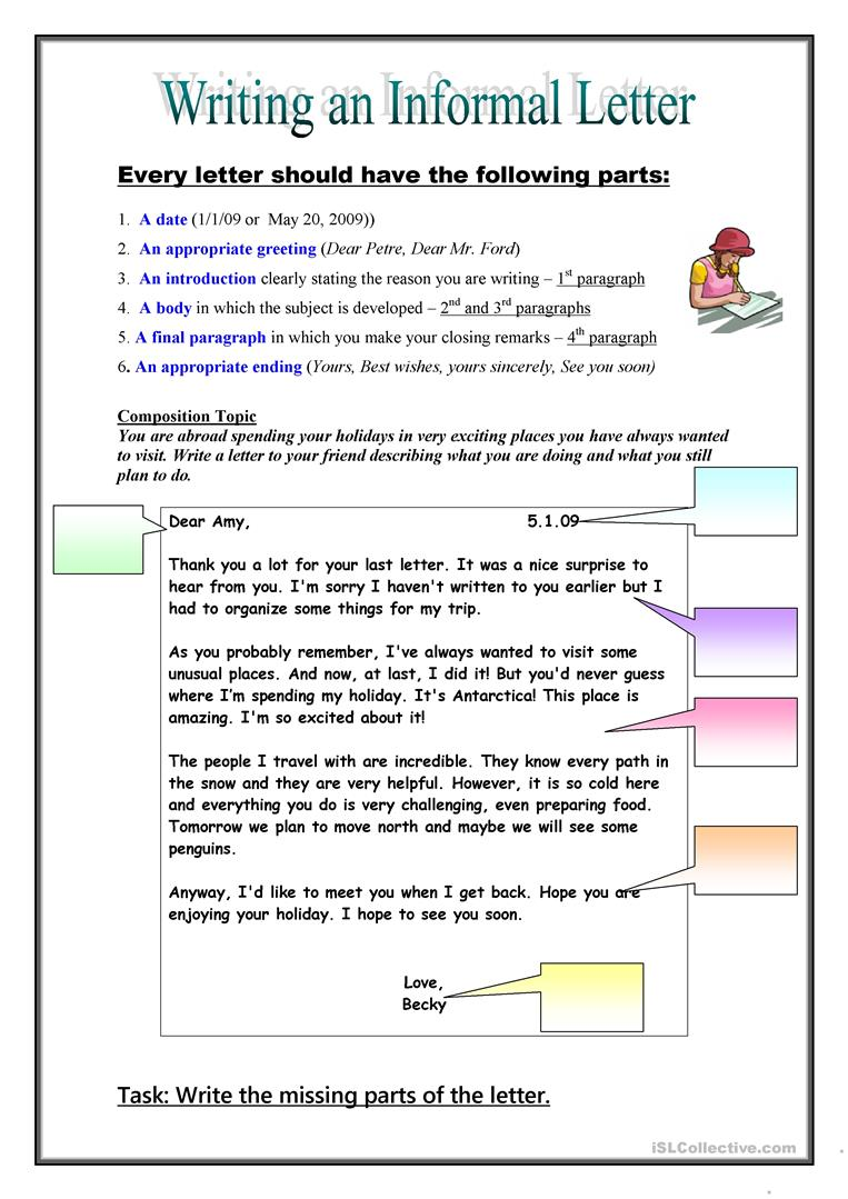 Writing An Informal Lettre English Esl Worksheets