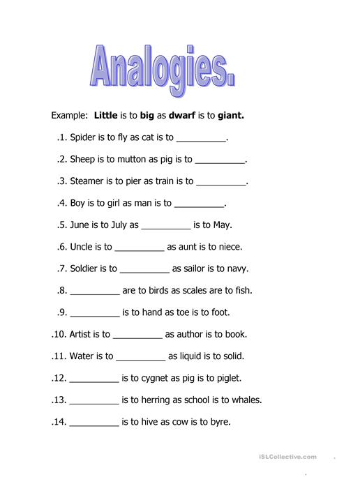 Free analogy worksheets 2nd grade