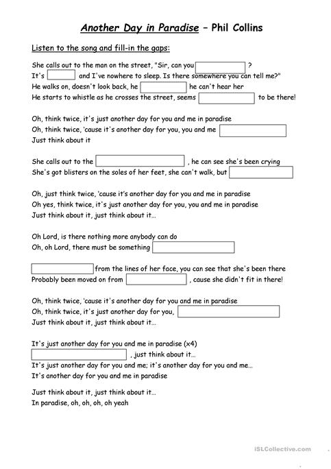 Another Day In Paradise Worksheet Free Esl Printable Worksheets