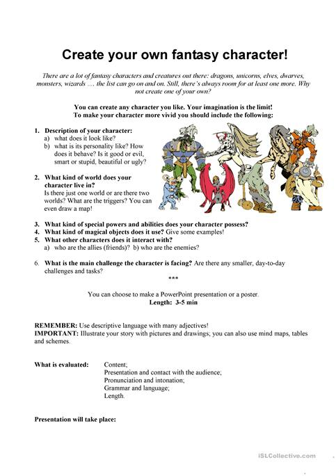 Create Your Own Fantasy Character Worksheet Free Esl Printable