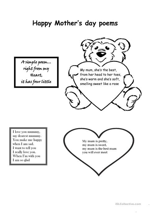 Happy Mothers Day Worksheet Free Esl Printable Worksheets Made By