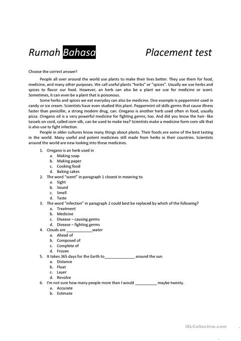 photograph relating to Free Printable Placement Test named position examine worksheet - No cost ESL printable worksheets