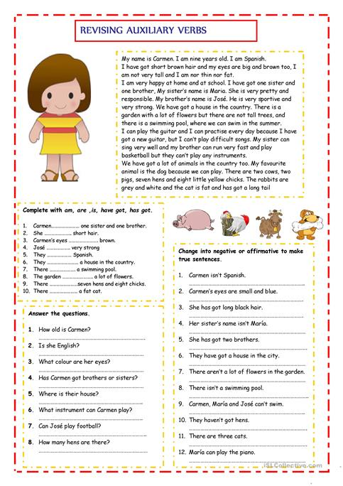revising auxiliary verbs - English ESL Worksheets