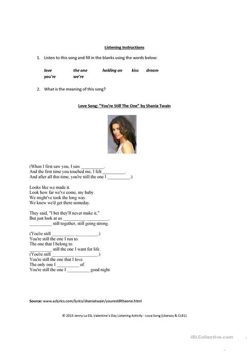 Valentines Day  Love Song Listening Activity worksheet  Free