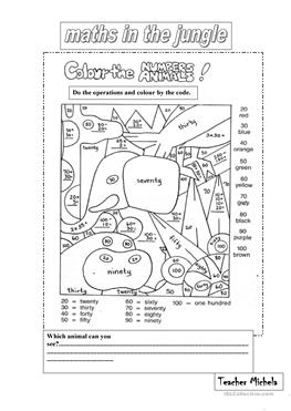 free esl maths worksheets maths in the jungle