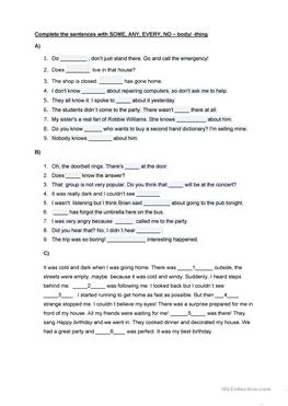 1 FREE ESL every-some-any-no compounds worksheets
