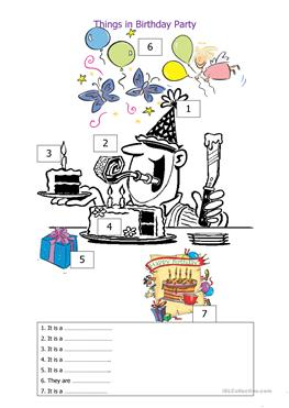 1 free esl things in the birthday party worksheets. Black Bedroom Furniture Sets. Home Design Ideas