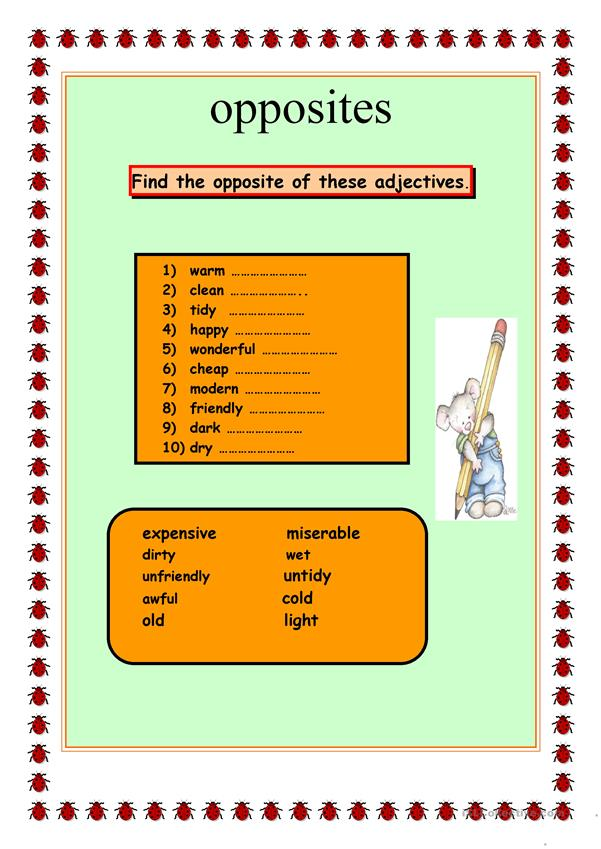 adjectives and their opposite