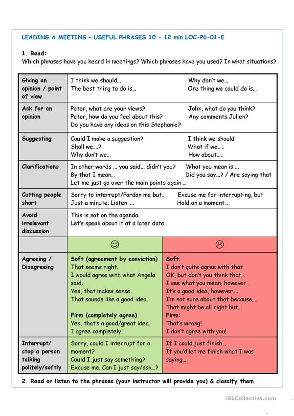 Business English - Useful phrases for leading a meeting