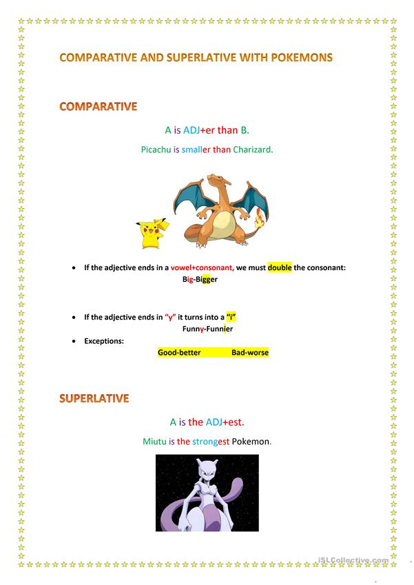 COMPARATIVE AND SUPERLATIVE WITH POKEMONS
