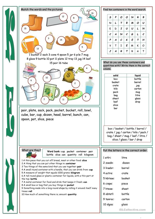 Containers & Quantities Vocabulary Exercises
