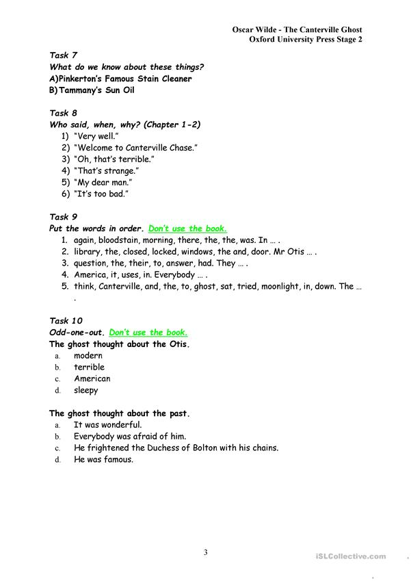 Exercises to The Canterville Ghost Chapter 2 worksheet - Free ESL