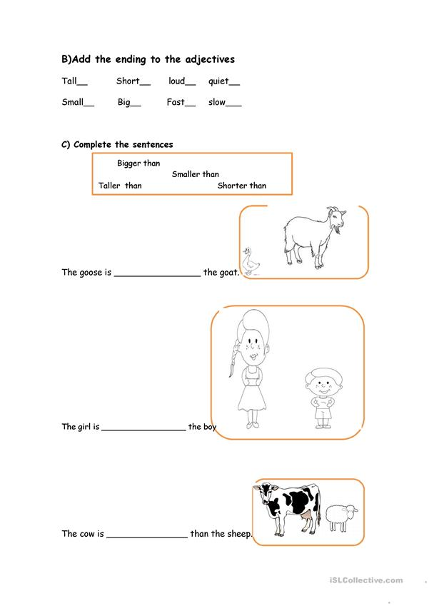 farm animals and adjectives