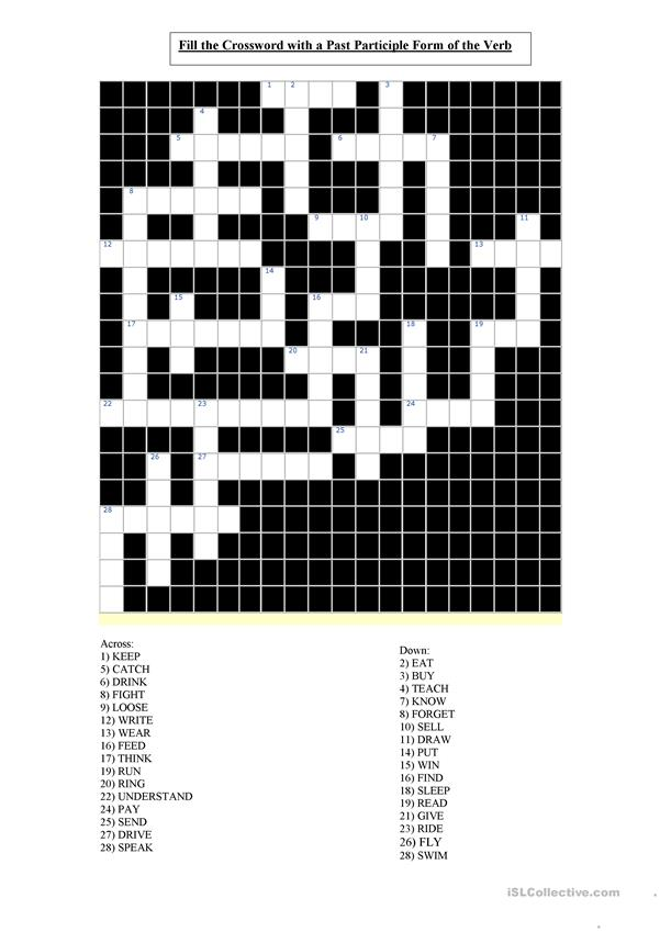 Irregular Past Participle Verbs Crossword