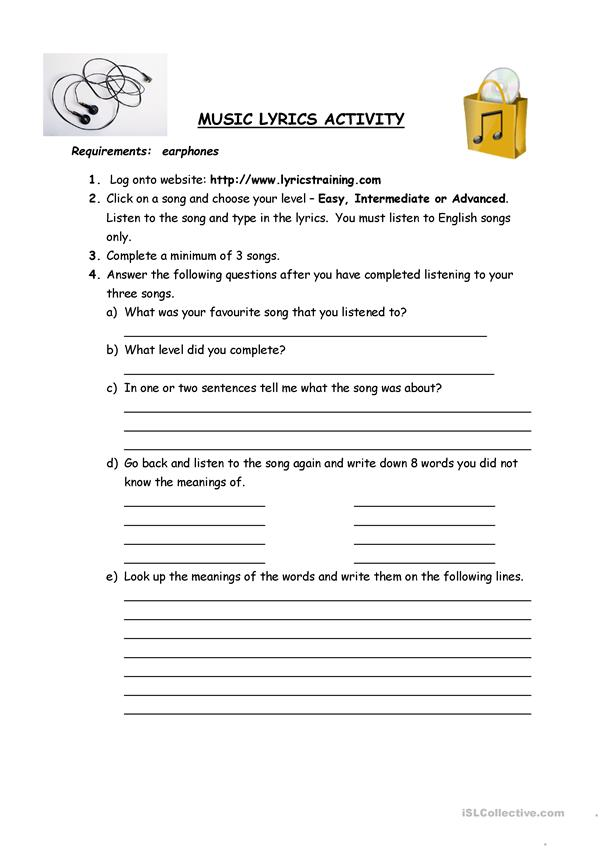 Music Lyrics Activity