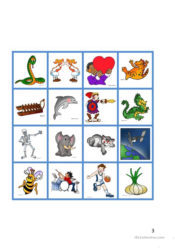 Nouns - Pictures vs Words - Matching game
