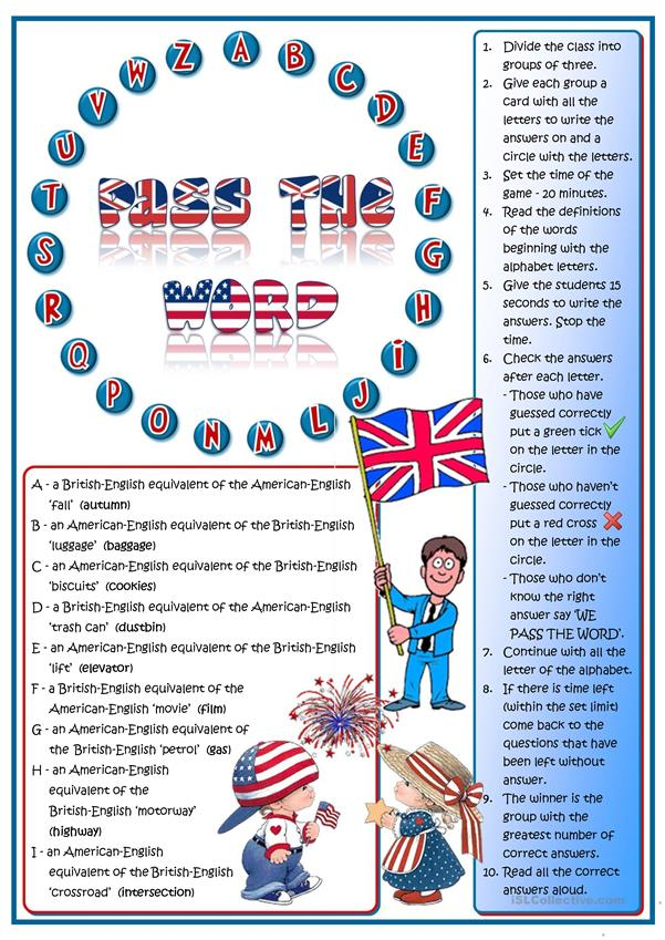Pass the word - American vs British English quiz
