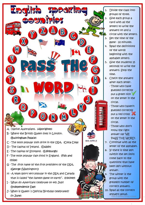 Pass the word - English-speaking countries quizl