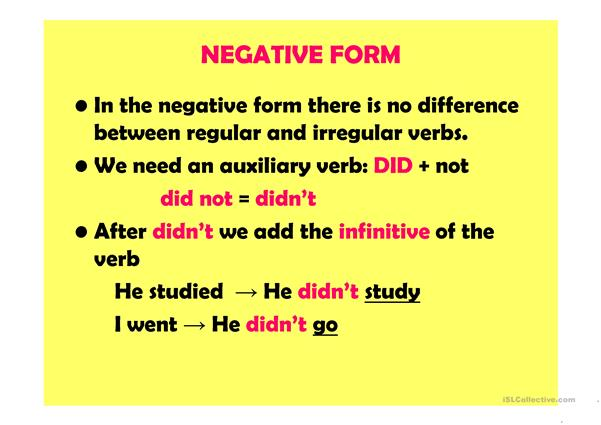 Past simple 2/2: negative, interrrogative, mixed forms (28 slides)