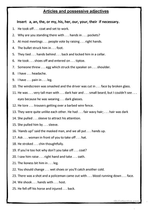 possessive adjectives & articles