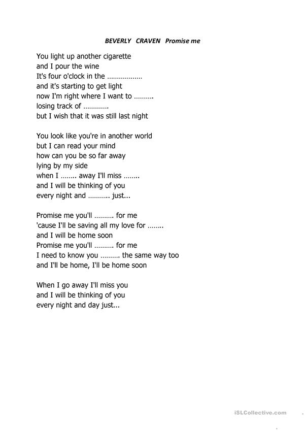 Promise me  Beverly Craven  lyrics