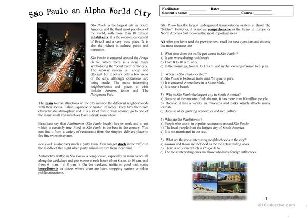 Reading and Writing - Discover Sao Paulo, Prague,New York and L.A.