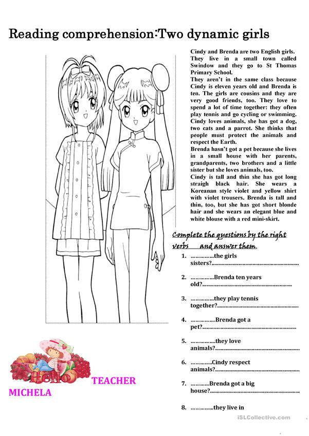 Reading comprehension: two dynamic girls