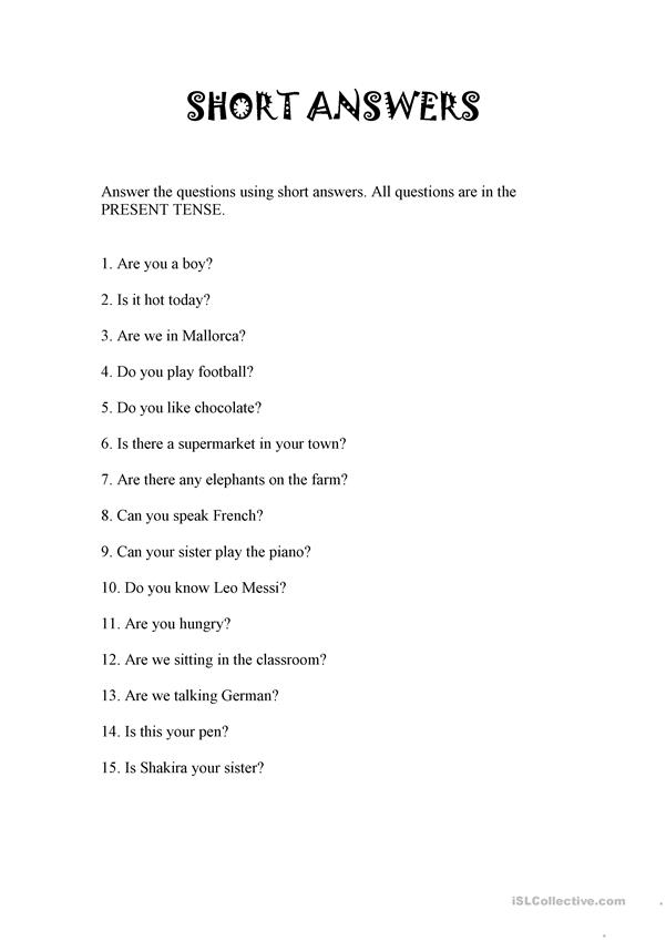 SHORT ANSWERS
