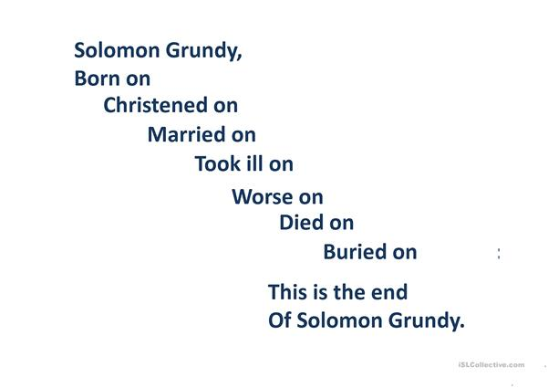 Solomon Grundy and Days of the Week
