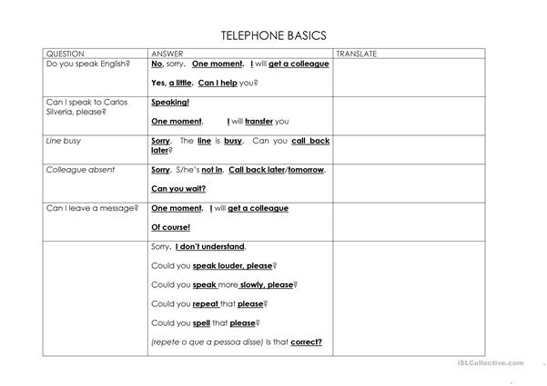 TELEPHONE BASICS