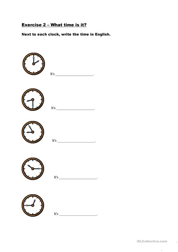 Telling the time 2