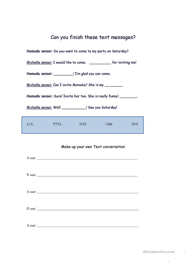Text Messaging Worksheet