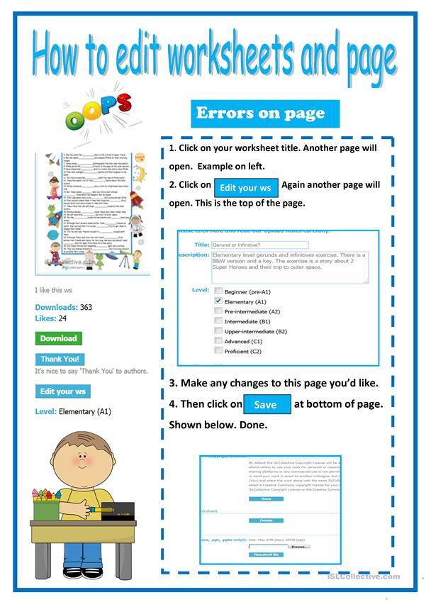Tutorial:How to edit your worksheets and  ws page