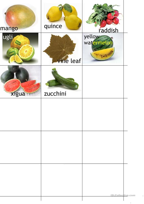 vegetable and fruit alphabet