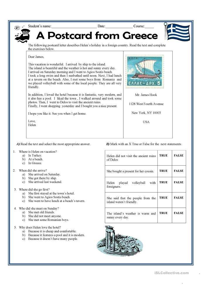 A postcard letter from Greece  - ESL worksheets